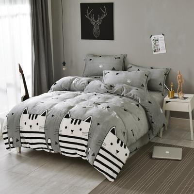 法莱绒四件套法兰绒珊瑚绒被套床单床笠四件套 1.8m床笠款 招财猫