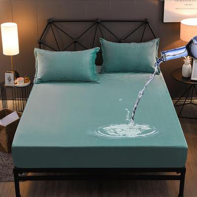 水晶绒防水床笠法莱绒法兰绒珊瑚绒床罩单件 枕套一对 淡雅绿