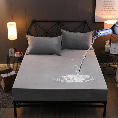 水晶绒防水床笠法莱绒法兰绒珊瑚绒床罩单件 枕套一对 绅士灰