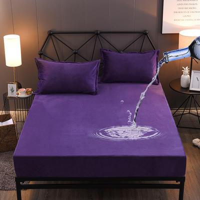 水晶绒防水床笠法莱绒法兰绒珊瑚绒床罩单件 枕套一对 青绀蓝