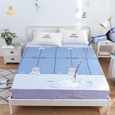 防水床笠全棉印花隔尿透气纯棉床罩床单床裙床套 100cmx200cm 里约小熊