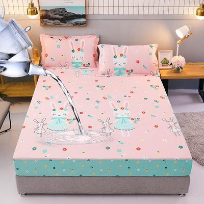 防水床笠全棉印花隔尿透气纯棉床罩床单床裙床套 100cmx200cm 三月兔-粉