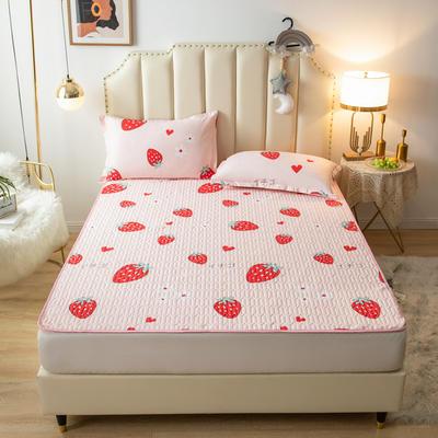 全棉夹棉防水床护垫 90*200cm 甜心草莓