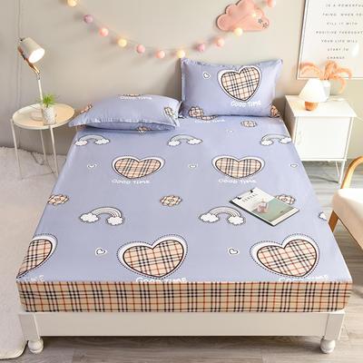 防水床笠全棉印花隔尿透气纯棉床罩床单床裙床套 100cmx200cm 宝格爱心