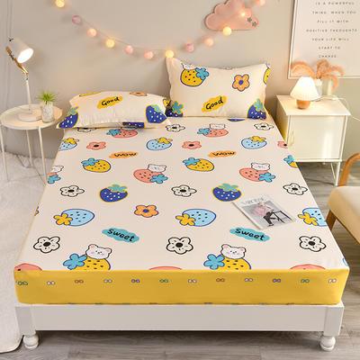 防水床笠全棉印花隔尿透气纯棉床罩床单床裙床套 100cmx200cm 草莓甜心