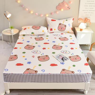 防水床笠全棉印花隔尿透气纯棉床罩床单床裙床套 100cmx200cm 萌宠宝贝
