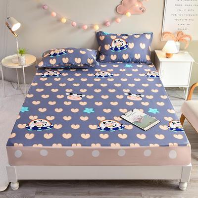 防水床笠全棉印花隔尿透气纯棉床罩床单床裙床套 100cmx200cm 奶牛宝贝