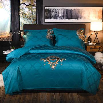 纯棉时代四件套 1.5m(5英尺)床 安吉拉=深海蓝