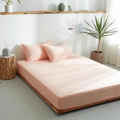 水洗棉单品床笠(12规格)单品床单(4规格)全棉色织水洗棉四件套单件 240cmx250cm床单 蜜粉