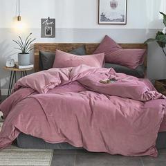 2018新品无印良品天鹅绒保暖四件套 1.2m(4英尺)床三件套 酱紫