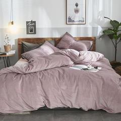 2018新品无印良品天鹅绒保暖四件套 1.2m(4英尺)床三件套 藕荷