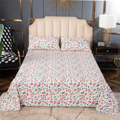 2020新款100%全棉老粗布床单—场景1 单品床单120cmx230cm 初妆花蕊