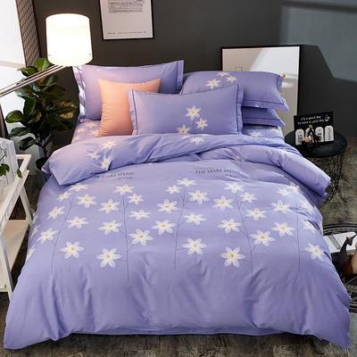 2018新款-全棉加厚生态磨毛四件套 1.8m(6英尺)床 花开半夏-紫