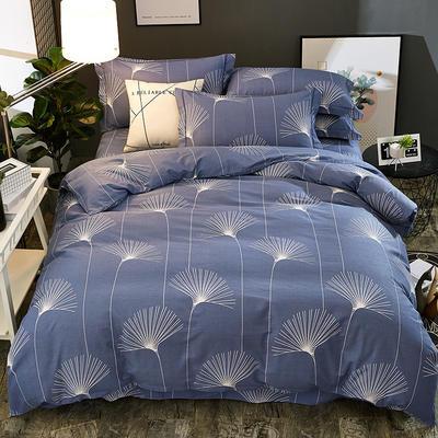 2018新款-全棉加厚生态磨毛四件套 1.8m(6英尺)床 蒲公英-蓝