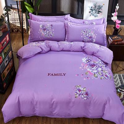 欧式美大版磨毛四件套-终版 1.8m(6英尺)床 暗香紫