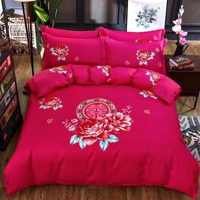 欧式美大版磨毛四件套-终版 1.8m(6英尺)床 凤鸾红