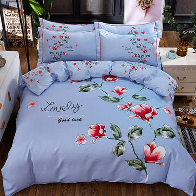 欧式美大版磨毛四件套-终版 1.8m(6英尺)床 俏佳人兰