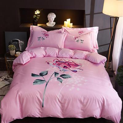 欧式美大版磨毛四件套-终版 1.8m(6英尺)床 如果爱粉