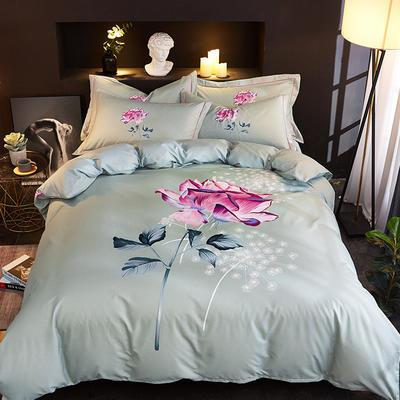 欧式美大版磨毛四件套-终版 1.5m(5英尺)床 如果爱绿