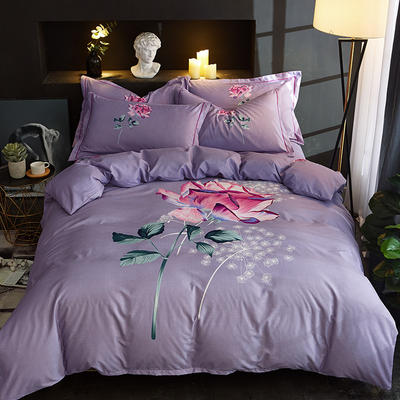 欧式美大版磨毛四件套-终版 1.8m(6英尺)床 如果爱紫