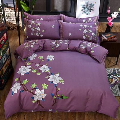 欧式美大版磨毛四件套-终版 1.8m(6英尺)床 三生三世紫