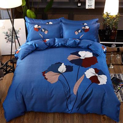 欧式美大版磨毛四件套-终版 1.8m(6英尺)床 五色花