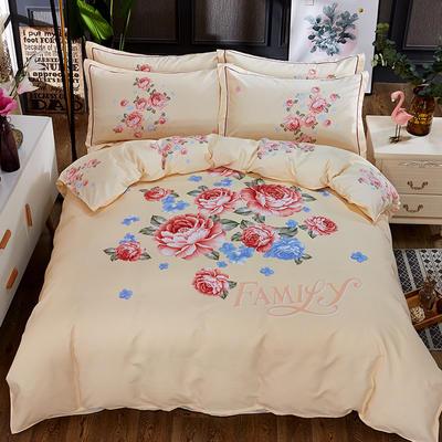 欧式美大版磨毛四件套-终版 1.5m(5英尺)床 雅香黄