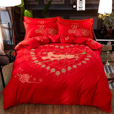 欧式美大版磨毛四件套-终版 1.5m(5英尺)床 因为爱情
