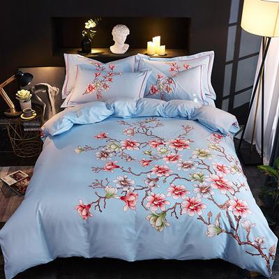 欧式美大版磨毛四件套-终版 1.8m(6英尺)床 左岸花开蓝