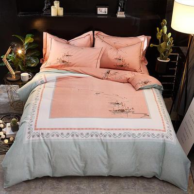 2018新款-秋冬爆款全棉生态磨毛大版四件套 1.8m(6英尺)床 在水一方