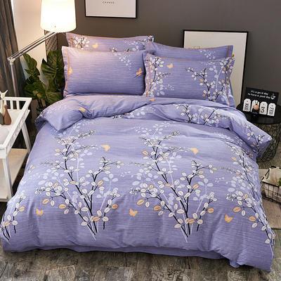 2018新款-全棉加厚生态磨毛四件套 1.8m(6英尺)床 蔓恋-紫