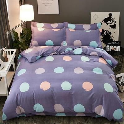 2018新款-全棉加厚生态磨毛四件套 1.2m(4英尺)床(三件套) 圆梦-紫