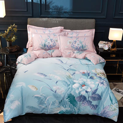 2019新款13372全棉活性大版四件套 1.8m(6英尺)床 花满庭