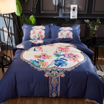 2019新款13372全棉活性大版四件套 1.5m(5英尺)床 锁珠帘紫