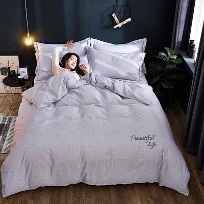 2019新款北欧简约全棉绣花四件套 1.8m(6英尺)床 圣托里尼-白灰