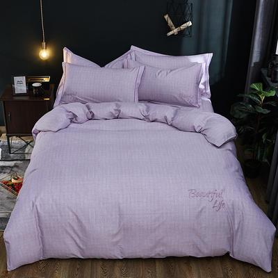 2019新款北欧简约全棉绣花四件套 1.8m(6英尺)床 圣托里尼-丁香紫
