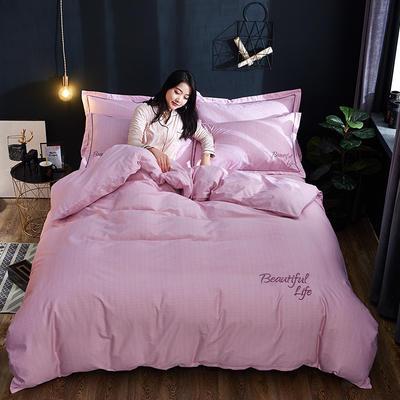 2019新款北欧简约全棉绣花四件套 1.8m(6英尺)床 圣托里尼-粉紫