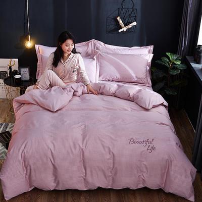 2019新款北欧简约全棉绣花四件套 1.8m(6英尺)床 圣托里尼-格粉