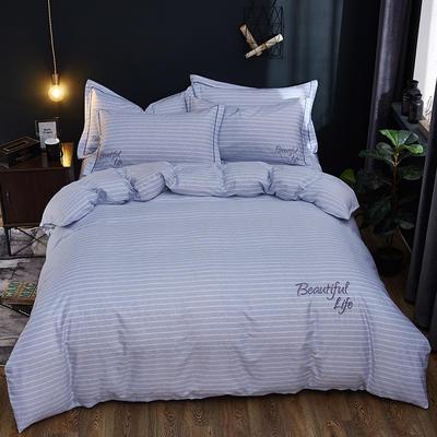 2019新款北欧简约全棉绣花四件套 1.8m(6英尺)床 圣托里尼-青蓝
