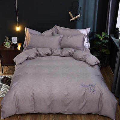 2019新款北欧简约全棉绣花四件套 1.8m(6英尺)床 圣托里尼-深灰