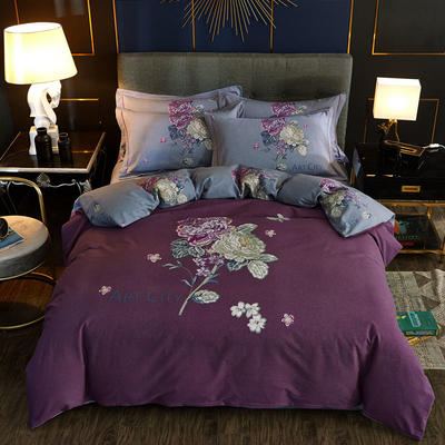 2019新款全棉加厚生态磨毛大版四件套(第二批) 标准四件套(1.5m/1.8m床适用) 香雪兰-紫