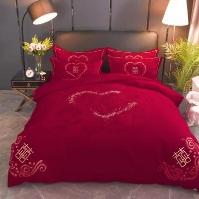2019新款婚庆大红全棉生态磨毛大版四件套 标准(1.5m/1.8m床适用) 爱情玫瑰