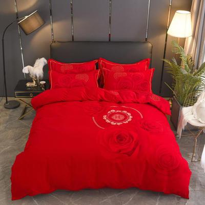 2019新款婚庆大红全棉生态磨毛大版四件套 标准(1.5m/1.8m床适用) 爱在花开