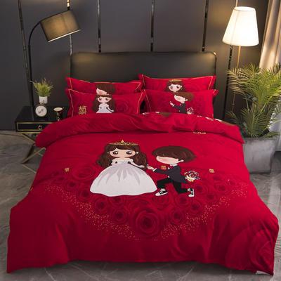 2019新款婚庆大红全棉生态磨毛大版四件套 标准(1.5m/1.8m床适用) 天生一对