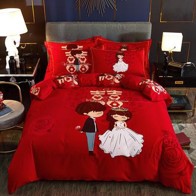 2019新款婚庆大红全棉生态磨毛大版四件套 标准(1.5m/1.8m床适用) 在一起