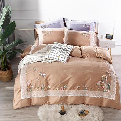 2019新款60S长绒棉绣花四件套 1.8m(6英尺)床单款 花仙子金棕色