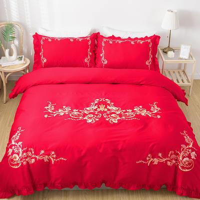 2019新款60S长绒棉绣花四件套 2.0m(6.6英尺)床单款 花漾-大红