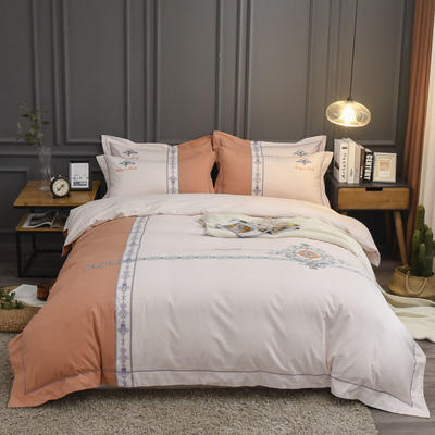 2019新款60S全棉磨毛色织绣花四件套 2.0m(6.6英尺)床单款 布拉格-红咖