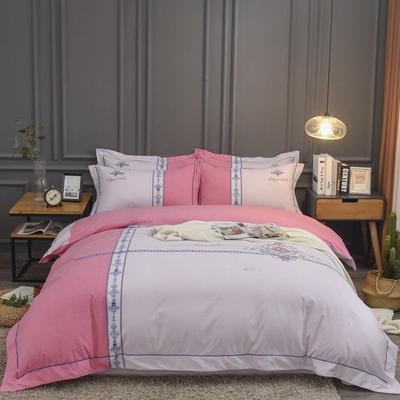 2019新款60S全棉磨毛色织绣花四件套 2.0m(6.6英尺)床单款 布拉格-红砖