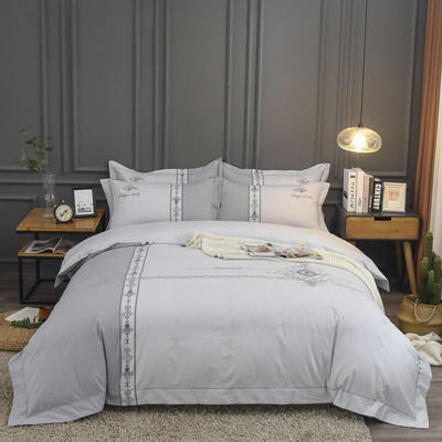 2019新款60S全棉磨毛色织绣花四件套 2.0m(6.6英尺)床单款 布拉格-银灰